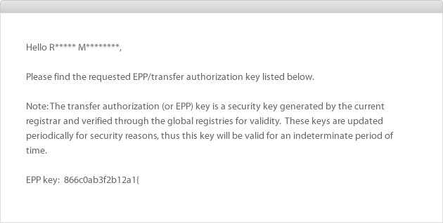 Example of Email containing EPP or Auth Code