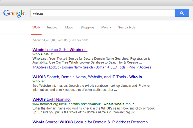 Example of Google Whois