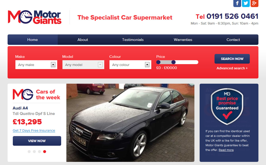 New Website Design For Motor Giants The Specialist Car Supermarket